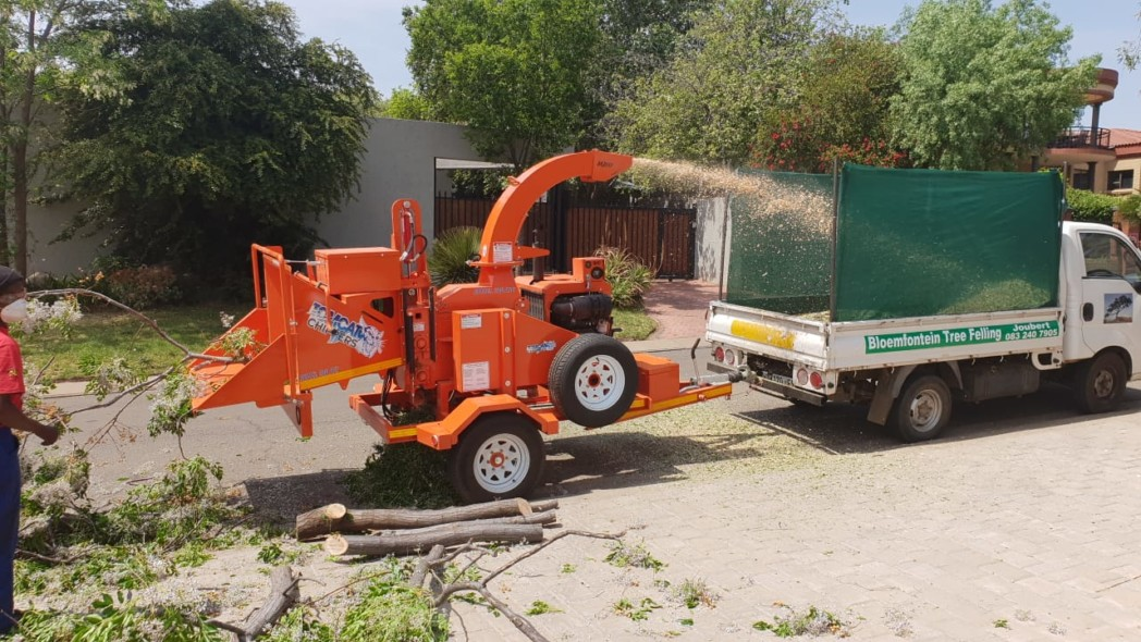 Bloemfontein Tree Felling with their brand new TOMCAT Model 200 AFE wood chipper in action