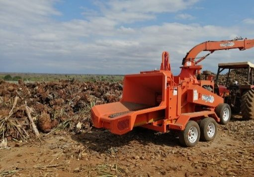 A TOMCAT 375 AFE Wood Chipper processing Agave plants to use as compost in Kenya.